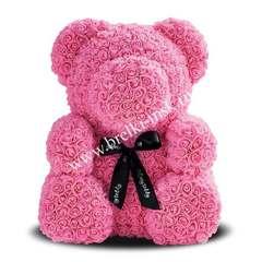 Розовый мишка из 3D роз с черной фирменной лентой 25 см.