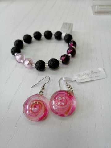 Комплект Flex Mare розовый (серьги, браслет)