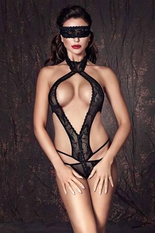 Черное эротическое польское открытое сексуальное кружевное боди Anais с ремешками