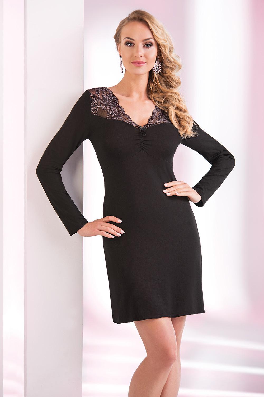 Домашнее платье из вискозы черное короткое (Сорочки из вискозы)