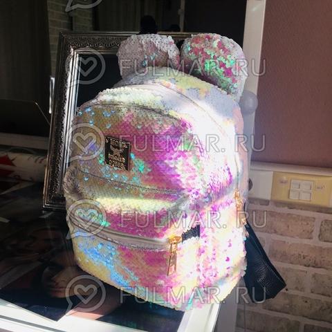 Рюкзак с пайетками и Ушами меняет цвет перламутровый-белый Пупс