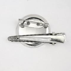 Основа для броши с круглой площадкой 23 мм с двумя креплениями (цвет - платина)