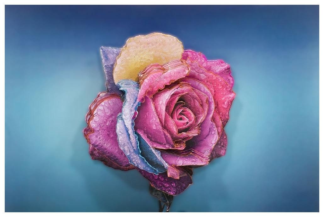 Папертоль Радужная роза — готовая работа, вид спереди.