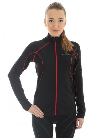 Brubeck Windproof Zip Top женская куртка-толстовка с ветрозащитной мембраной черная