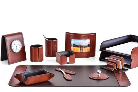 ПРЕМИУМ Набор настольный руководителя 12 предметов из кожи Full Grain Toscana Tan/шоколад