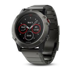 Мужские спортивные часы Garmin Fenix 5X Sapphire - серые с металлическим браслетом 010-01733-03