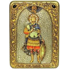 Инкрустированная икона Святой мученик Иоанн Воин 29х20 на натуральном дереве, в подарочной коробке