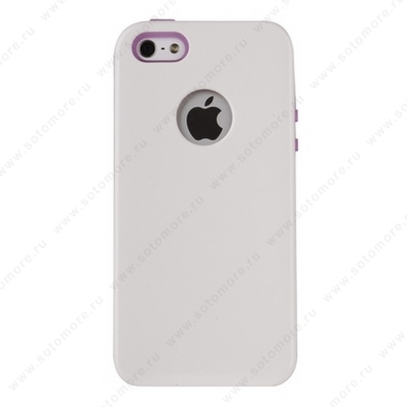 Накладка REMAX для iPhone SE/ 5s/ 5C/ 5 с отверстием под яблоко белая с розовым кантом