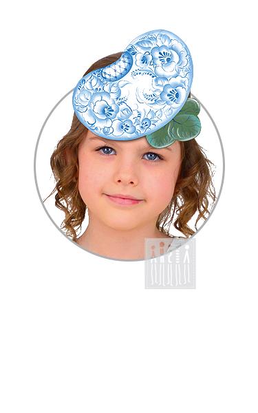 Головной убор - маска Фасоль с Гжельской росписью