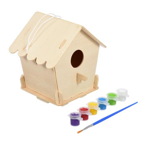 Скворечник «Домик» для птиц сборный с красками и кисточкой, 12,5х12,5х16 см