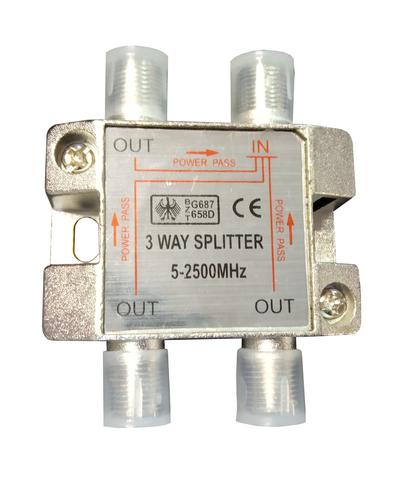 Разветвитель телевизионного сигнала делитель (проходной) на три точки (DVB-T2 приемника или телевизора) с проходом питания предназначен для использования совместно с активными антеннами, имеющих усилитель. Использование делителя позволяет питать активную антенну от цифрового ресивера или инжектора, те