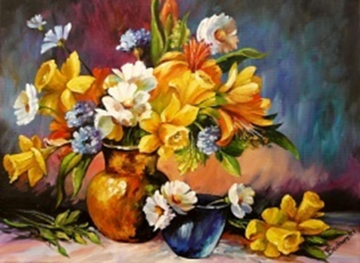Картина раскраска по номерам 30x40 Желтые цветы с ...