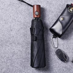 Мужской премиальный зонт, с защитой от УФ, 10 спиц, деревянная ручка (черный)