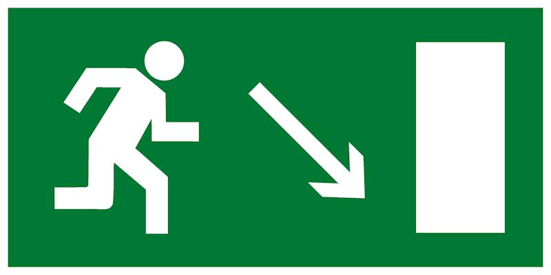 Эвакуационный знак Е07 - Направление к эвакуационному выходу направо вниз
