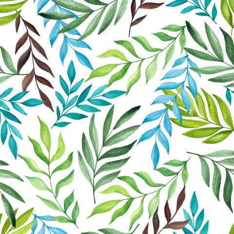 Тропические листья на белом