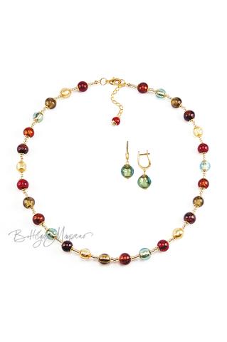 Комплект Carnavale Oro (зеленые серьги на серебре, ожерелье)