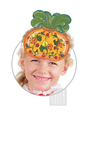 Фото Головной убор - маска Репка с росписью рисунок Маски для детского сада: для театрализованных и подвижных игр. Эти уникальные  маски ободки станут незаменимым, а подчас - и единственным элементом костюма!