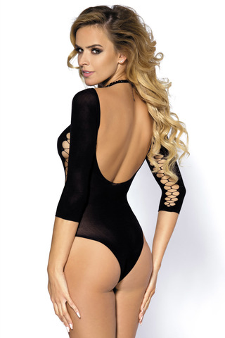 Эластичное черное облегающее сексуальное красивое боди Anais с открытой спиной вид сзади
