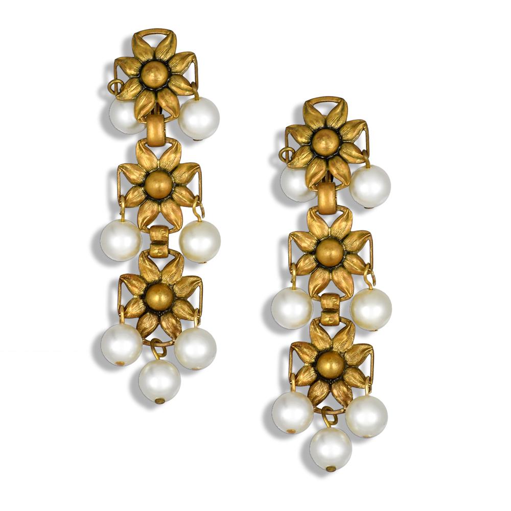 Клипсы Joseff of Hollywood с искусственным жемчугом  |  Faux pearl Joseff of Hollywood cascading clip on earrings