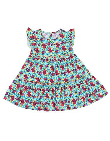 Basia Л921 Платье для девочки в цветочек ментоловое