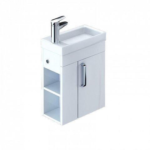 Тумба с умывальником для ванной комнаты, подвесная, белая, 40 см, Torr, IDDIS, TOR40W1i95K