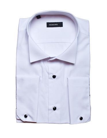 Белая мужская приталенная slim fit рубашка GIOBERTI под смокинг (носить с бабочкой)
