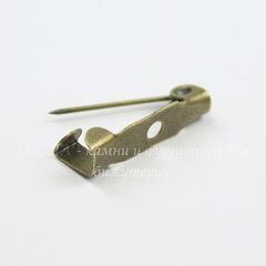Основа для броши 15х4 мм (цвет - античная бронза), 95-100 штук