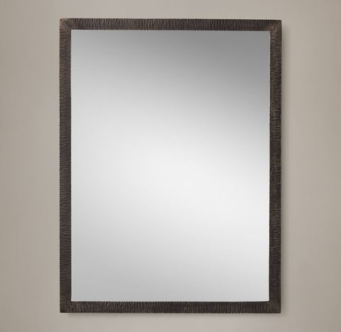 Hand-Textured Wrought Iron Mirror - Narrow Frame