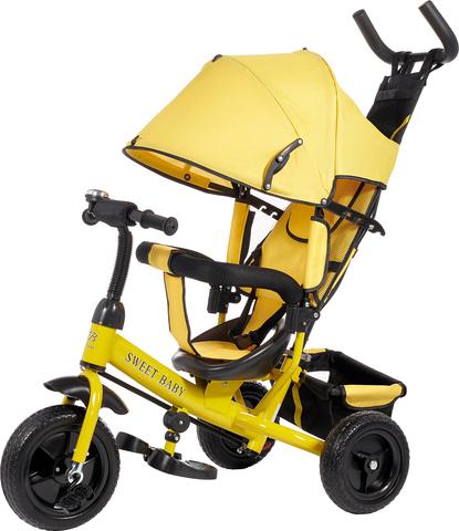 Детский трёхколёсный велосипед с ручкой (жёлтый) Sweet baby - колёса EVA