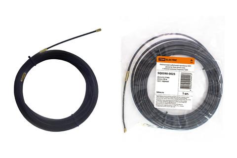 Нейлоновая кабельная протяжка НКП диаметр 4мм длина 25м с наконечниками (черная) TDM