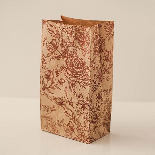 Крафт-пакет с рисунком Розы, размер 19*10*7 см