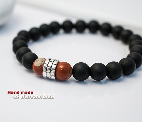 BS533-1 Мужской браслет из шунгита, ручная работа. &#34Boroda Design&#34