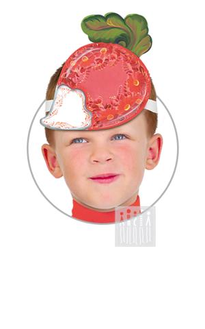 Фото Головной убор - маска Редис с росписью рисунок Маски для детского сада: для театрализованных и подвижных игр. Эти уникальные  маски ободки станут незаменимым, а подчас - и единственным элементом костюма!