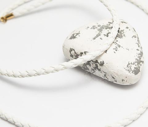 Белый плетеный шнурок из искусственной кожи премиум (55 см)