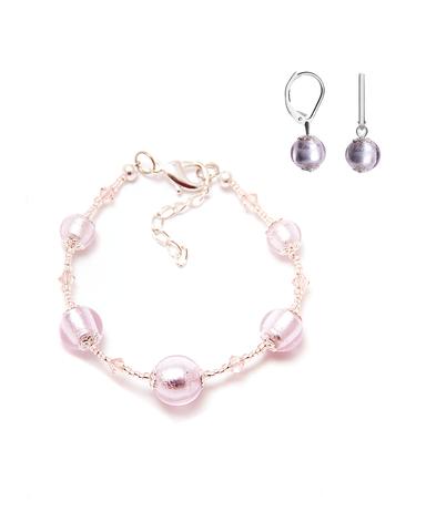 Комплект Примавера серебристо-розовый (серьги Пикколо, браслет)