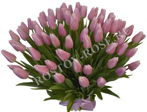 Букет 101 розового тюльпана сорта Pink Twist