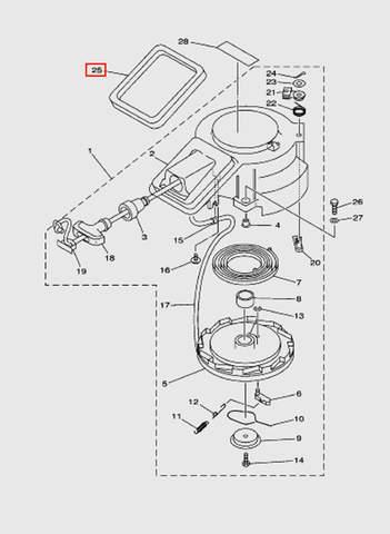 Уплотнитель стартера  для лодочного мотора T15, OTH 9,9 SEA-PRO (7-25)