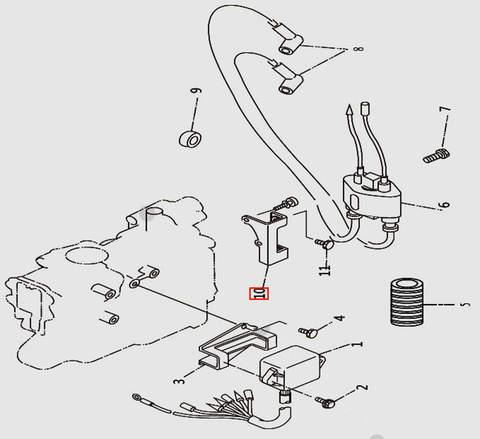 Кронштейн катушки высоковольтной для лодочного мотора T9.8 Sea-PRO (9-10)