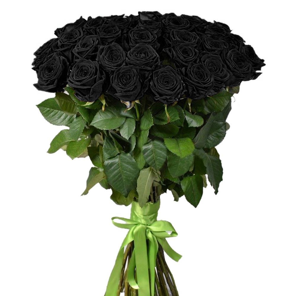 Букет 25 черных роз + лента атласная