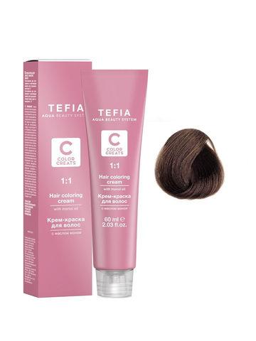 Крем-краска для волос с маслом монои 6.88 темный блондин шоколад интенсивный 60 мл COLOR CREATS Tefia