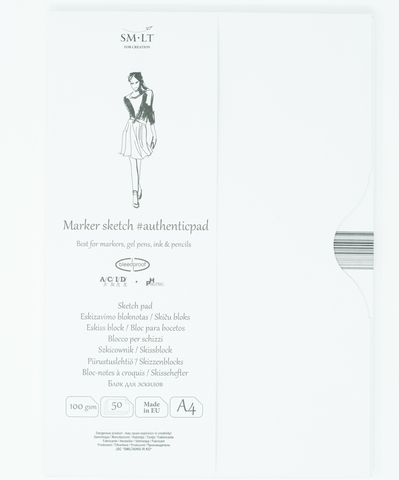 Альбом для маркеров Authentic for Markers 100г/м2 A4 50листов в папке склейка по длинной стороне