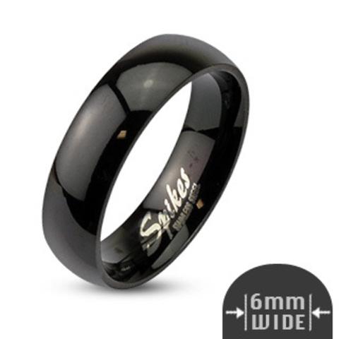 Кольца чёрные обручальные мужские и женские из ювелирной стали SPIKES R003