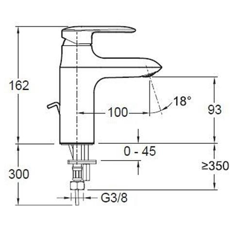 Смеситель для раковины Jacob Delafon Kumin Comfort Size E98827-CP схема