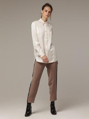 Женская белая рубашка из 100% шелка - фото 4