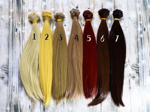 Волосся для ляльки, треси 25 см. Натуральні кольори.