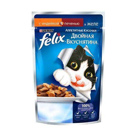 Felix Двойная вкуснятина пауч для кошек с индейкой и печенью в желе 85 г
