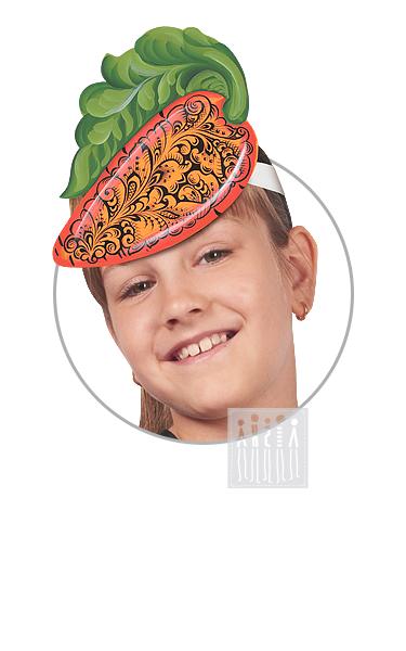 Головной убор - маска Морковка с росписью