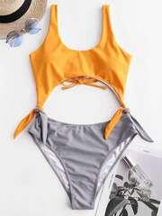 купальник слитный разноцветный желтый серый монокини