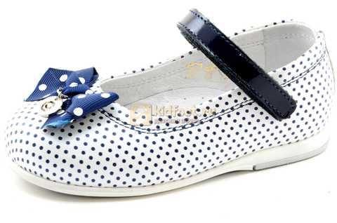 Туфли ELEGAMI (Элегами) из натуральной кожи для девочек, цвет белый в синий горошек. Изображение 1 из 12.