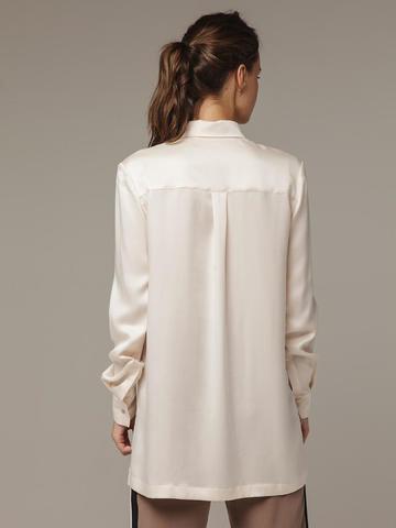 Женская белая рубашка из 100% шелка - фото 3